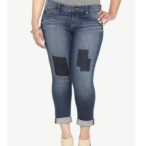 Torrid Skinny Cropped Faux Patch Jeans